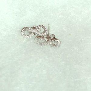 Cubic Zirconia Infinity Sterling Silver Earrings